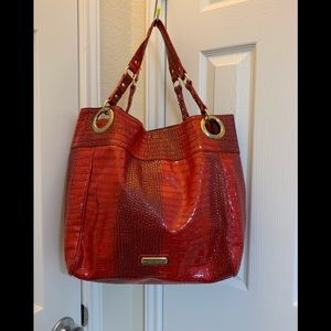 Huge Steve Madden Red Crocodile Tote Bag